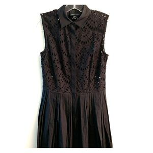 CYNTHIA ROWLEY Eyelet, pleated black dress sz: 0